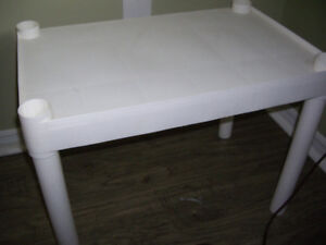 Multi purpose plastic table for $7can be used as side table, ni