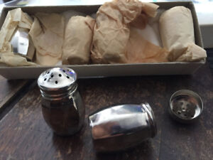 6 Individual Silver-Plated Salt Shakers from 1950s