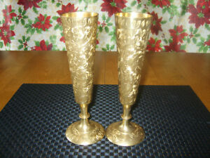 Brass Vase with Leaf Etching Windsor Region Ontario image 1