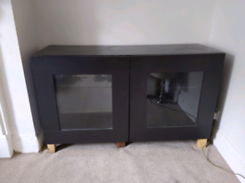 IKEA BLACK TV / CONSOLE GLASS FRONTED TABLE