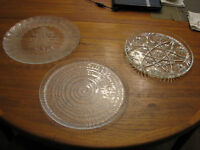 Three Glass Cake Platters
