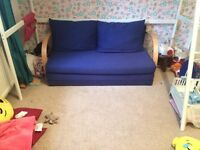 Blue double sofa bed