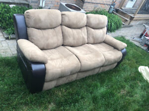 Genuine Leather Suede Couch and Loveseat