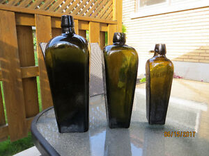 Antique Gin Bottles - 3 Assorted Sizes
