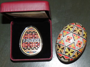"2018 ""GOLDEN SPRING PYSANKA""  SILVER COIN / AND REAL EGG"