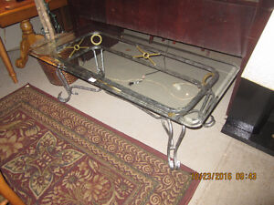 Glass top coffee table and 2 end tables