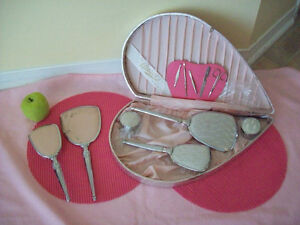 2 SETS **VINTAGE** OF  BEAUTY HAIR BRUSH AND MIRROR