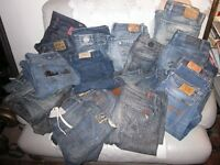 LOT OF MENS DESIGNER DENIM JEANS SIZES RANGE FROM 32 TO 34