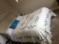 Beige/ Ivory with Blue Embroidery Bedspread / Throw