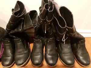 Girls size 4 black leather boots