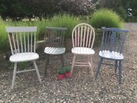 Four farmhouse chairs painted in Annie Sloan