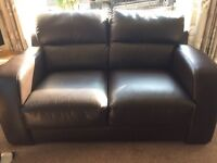 2 seater sofa brown faux leather