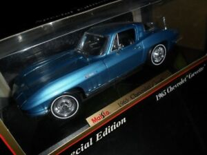 1/18 DIECAST Maisto 1965 Chevrolet Corvette Coupe Blue NEW