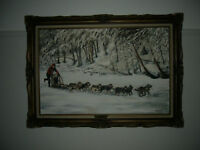 Dog Sled Derby North Bay Winter Carnival Original Oil Painting