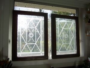 Pair of Antique windows with etched design on glass Kingston Kingston Area image 2