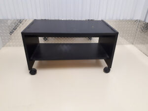 Hardwood rolling black shelf  and  small white color  table