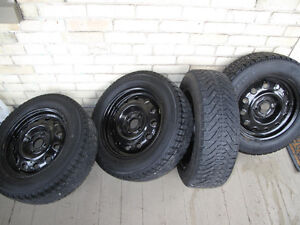 GREAT DEAL! - 4 good snow tires with steel rims Kitchener / Waterloo Kitchener Area image 1