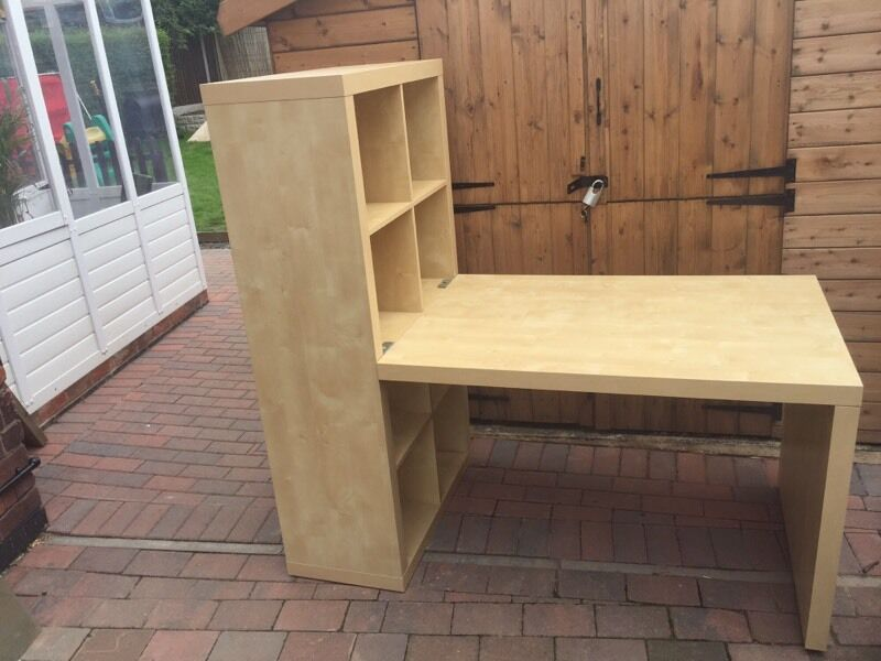 Ikea Expedit Desk And Bookcase Cube Display Birch Effect