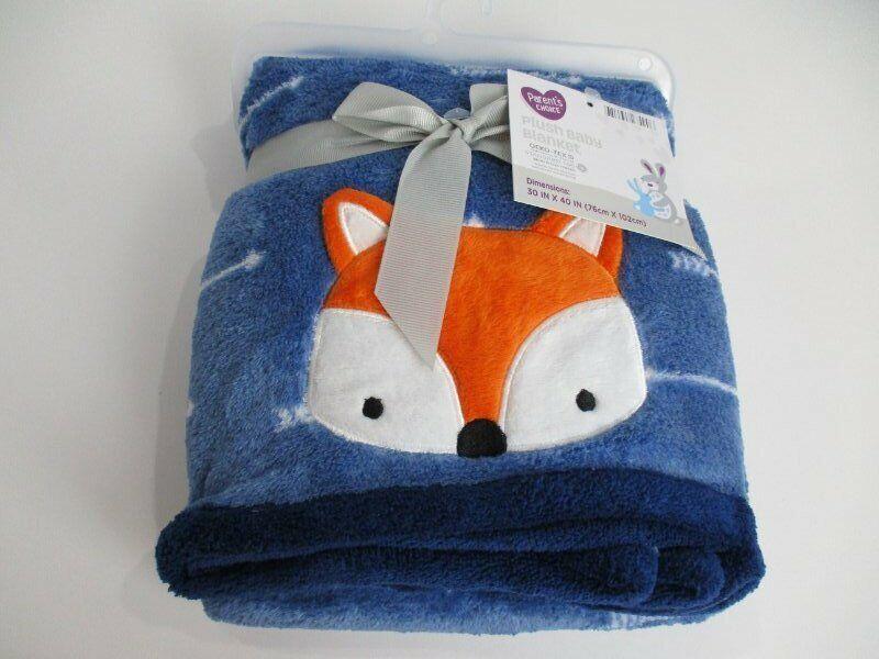 RARE NWT Parents Choice Walmart Navy Blue Orange Fox Arrows Plush Baby Blanket