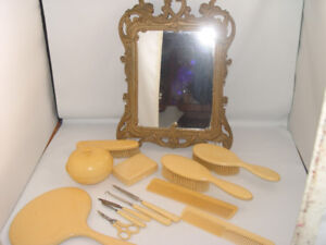 Antique French Ivory Celluloid 13 pc Set Large Vanity Mirror