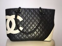 Authentic Chanel Jumbo Black Lambskin CC Tote Bag