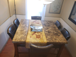 """Counter-Height """"Marble Dining Table"""""""