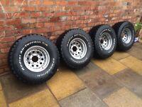 33 12.5 15 wheels and tyres 4x4 l200 navara shogun hardly used