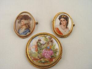 Antique 3 Porcelain Limoges Brooch Pin Gold Rope Case