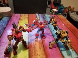 Spiderman, iron man, and thanos pre built lego bundle