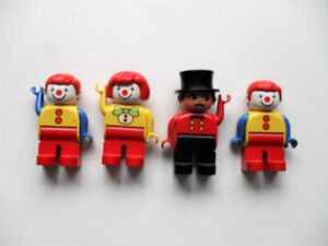 Lot of 4 Vintage LEGO DUPLO - Ringmaster & 3 Clowns Minifigs