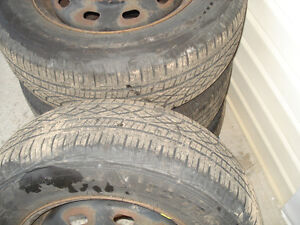 "15"" Set (4) All season tires 205X65X15"" on steel reems 5X100mm Kitchener / Waterloo Kitchener Area image 3"