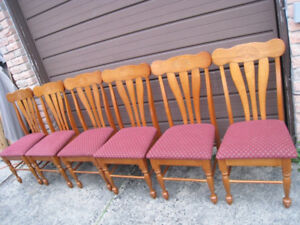 6 Large Solid Wood Dining Chairs, great condit, delivery extra$$