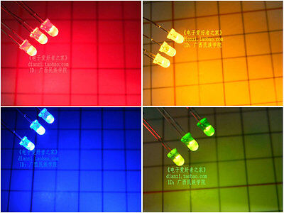 100pcslot 3mm Led Redyellowbluegreenemerald Green Longshort Pin