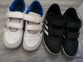 Boys Adidas trainers X2 black and white. Size 2