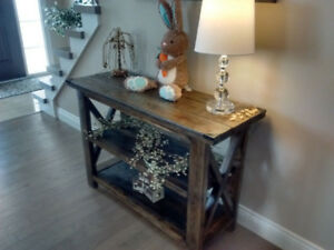 Sofa or Accent Table Solid Distressed Wood