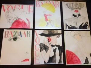 "Hand painted acrylic vogue magazine covers 14""x17"" London Ontario image 2"