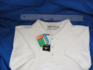 White short sleeve polo -clean,new with tags,youth large 10-12