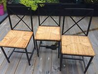 3 Kitchen/Dining chairs Black Metal Frame Flax Straw Seat