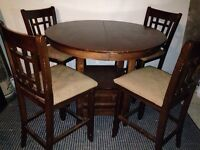 Bar height pub table and matching chairs