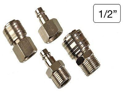 4 tlg Set Druckluft Anschluss + Kupplung 1/2 Schnellkupplung Schlauchtülle