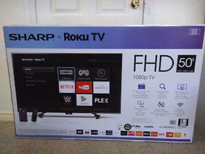 BRAND NEW IN THE BOX 50 INCH SHARP ROKU SMART LED TV