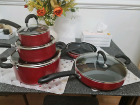12 piece red metallic non stick pan set aluminium cookware
