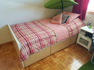 Ikea twin bed with 3 drawers