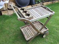 Hardwood garden serving trolley for sale