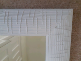 Wooden mirror 105 x 65 cm painted white