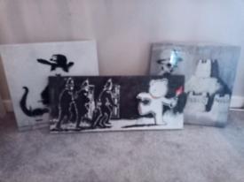 3x banksy canvas