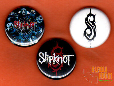 """Set of three 1"""" Slipknot pins buttons metal band group"""