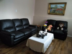 Black Leather Sofa (2 Pcs Set)