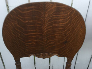Set of three beautiful antique oak chairs with curve backs