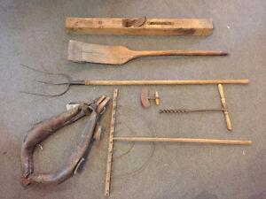 Antique Wood Farm Tools - Lot
